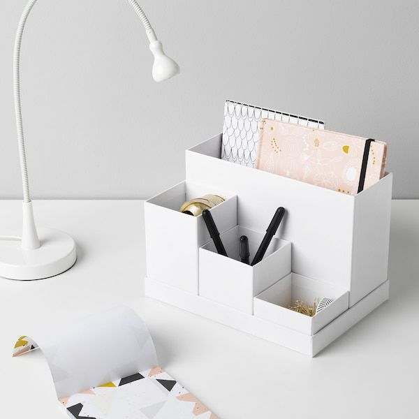 Tjena Desk Organizer White 7x6 Ikea In 2020 Desk Organization Ikea Desk Organization Ikea Desk