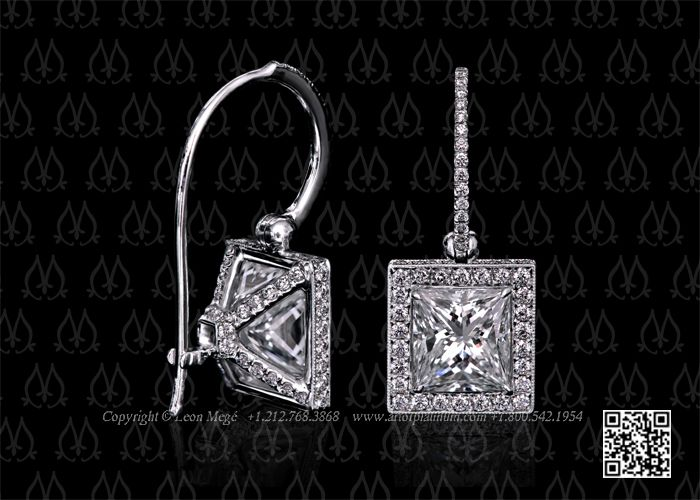 Princess cut diamond earrings by Leon Mege, except studs not dangling