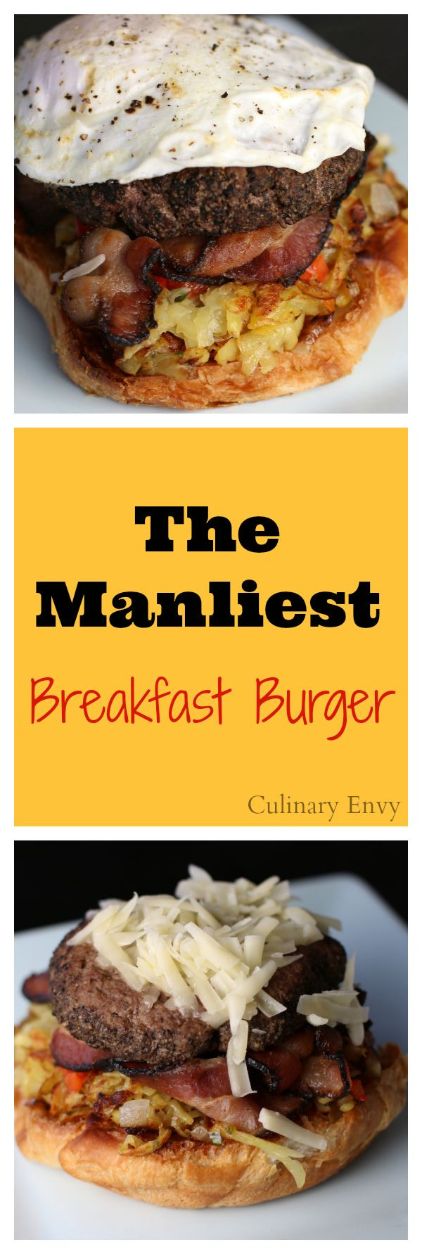 The Manliest Breakfast Burger will put a smile on his face. Layers of flavor make it a must for this weekend!