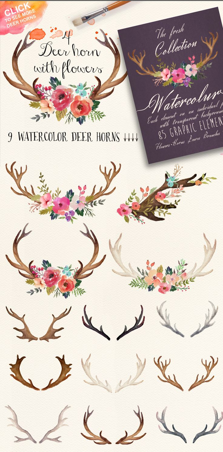 Watercolor flower DIY pack Vol.3 by Graphic Box on Creative Market                                                                                                                                                      More