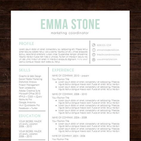 "★ Instant Download ★ Resume Template / CV Template for MS Word | ""The Emma"" Resume Design in mint green blue #shineresumes"