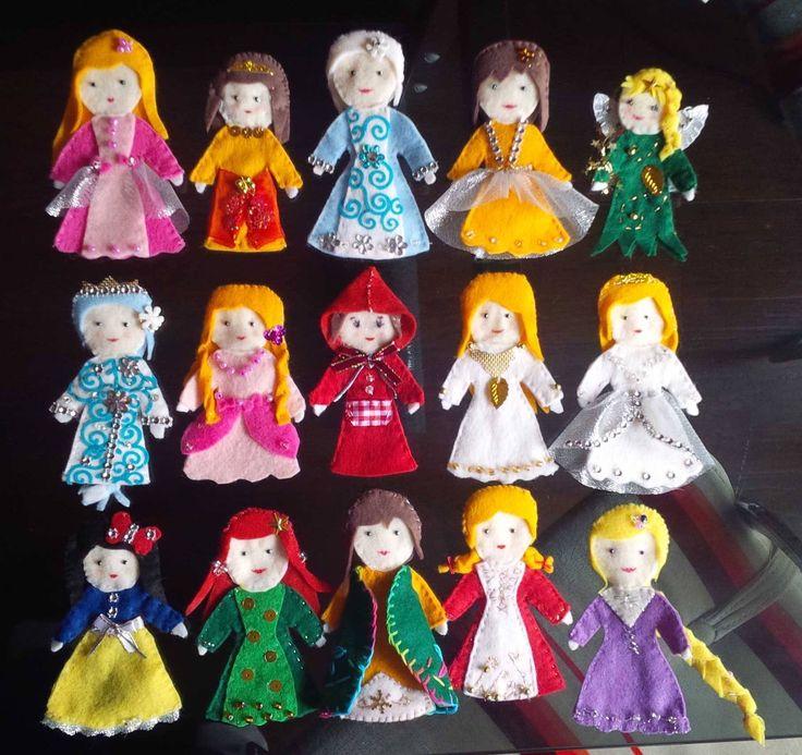 fairy tale princesses finger puppets, felt
