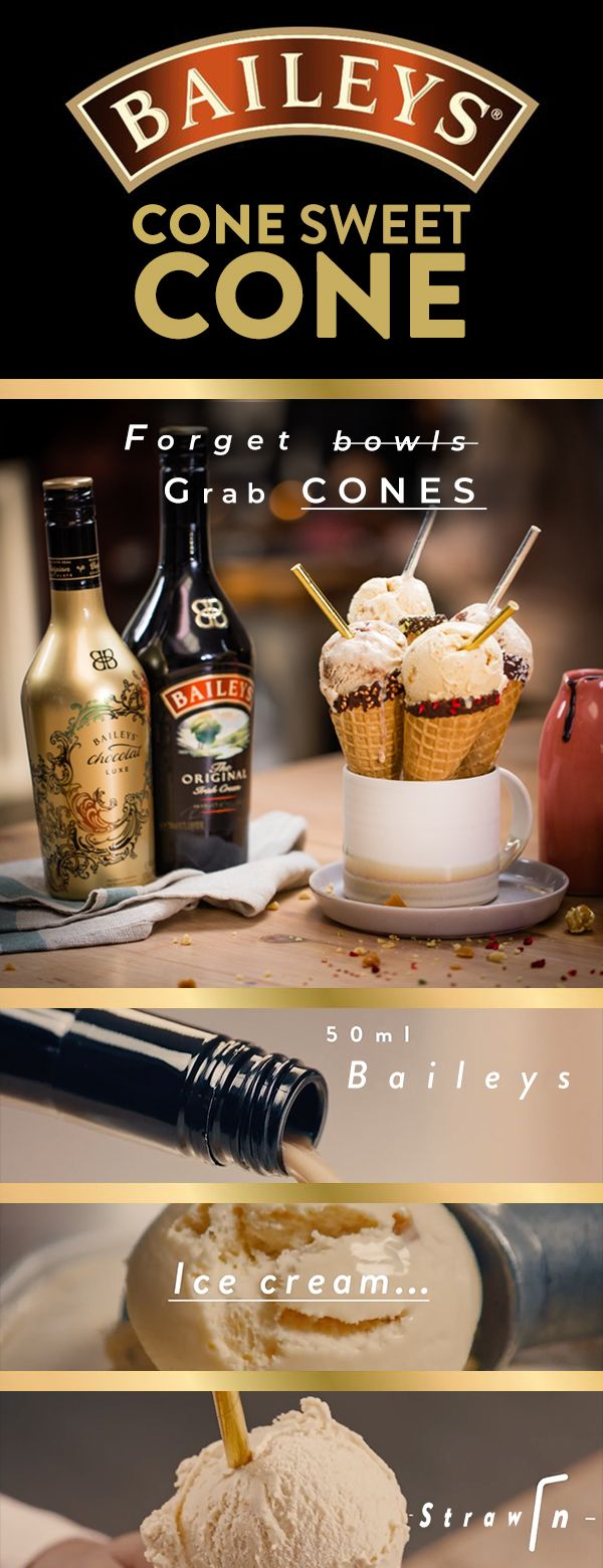 Forget bowls and grab cones! Can there ever be such a thing as too much creamy deliciousness? We say, no. All you need is cones, 50 ml of Bailey's, some tasty ice cream and straws.