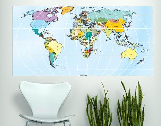 Printed Rectangular World Map in vinyl decal for home wall decoration.  Apply this sticker in any flat surface (laptop, windows, doors, furniture). Deco vinyl for your home. $68.95