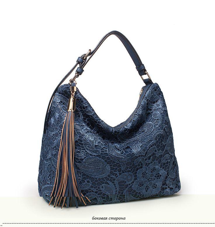 Realer бренд сумка на плечо женская большая синяя кружевная сумка выдалбливают сумка с узорами сумка с цветамикупить в магазине RealerнаAliExpress