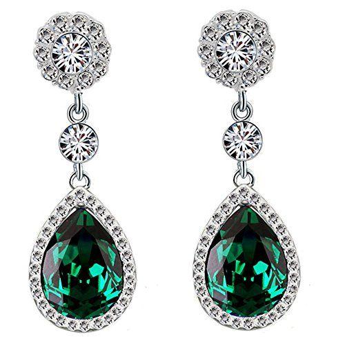 Diamantes de imitación de diamantes de Shine gala de color verde esmeralda cm de largo Juego de pendientes de tuerca E867
