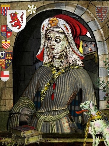 Jacquetta, mother of Elizabeth Woodville (wife of Edward IV), grandmother to Elizabeth of York (wife of Henry VII), great grandmother to Henry VIII, and great-great grandmother to Edward VI, Mary I, and Elizabeth I.