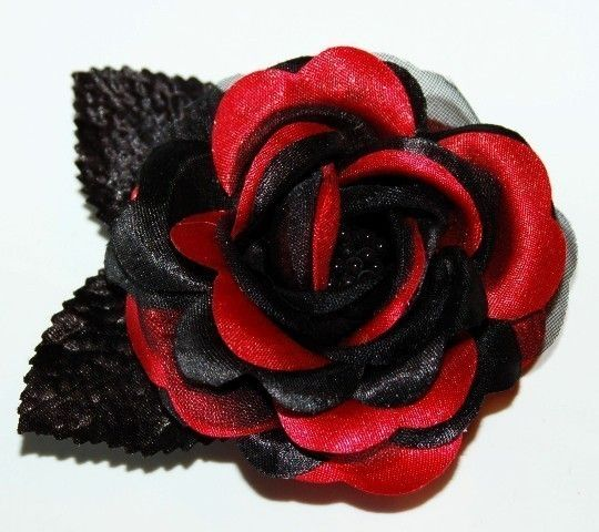 Ruby RED BLACK Rose Hair Clip Flower Prom Bridal Hair Accessories Wedding Bridesmaid