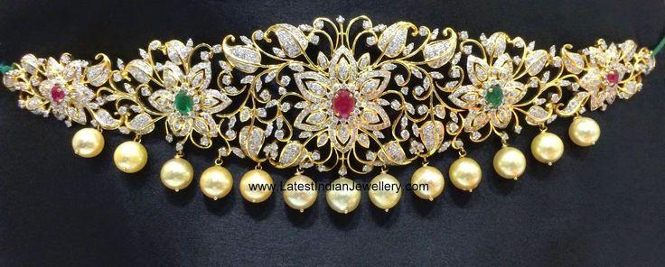 Floral Design Diamond Waist Belt