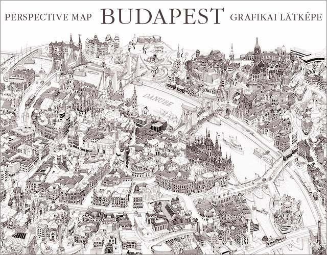 Very detailed freehand pen and ink 3D Bird's Eye View maps.