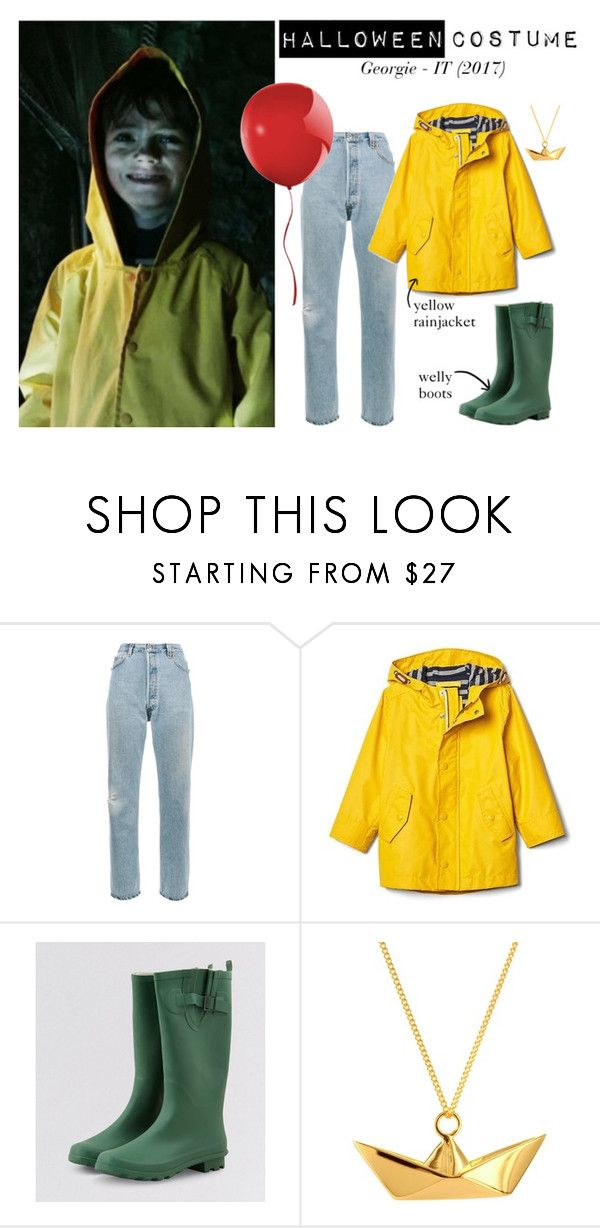"""""""Georgie Denbrough - IT (2017) - HALLOWEEN COSTUME IDEA"""" by nerd-ville ❤ liked on Polyvore featuring RE/DONE, New Look and Origami Jewellery"""
