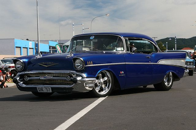 1957 Chevrolet Bel Air 2 Door Hardtop- This looks just like my husband's 57. Same color, but his is drag racing car.