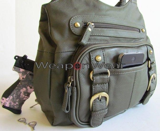 #20 Olive/Gray Locking Concealment/Concealed Carry CCW Holster Gun Bag Purse #Roma #MODERNLADIESCCWSHOULDERGUNPURSE