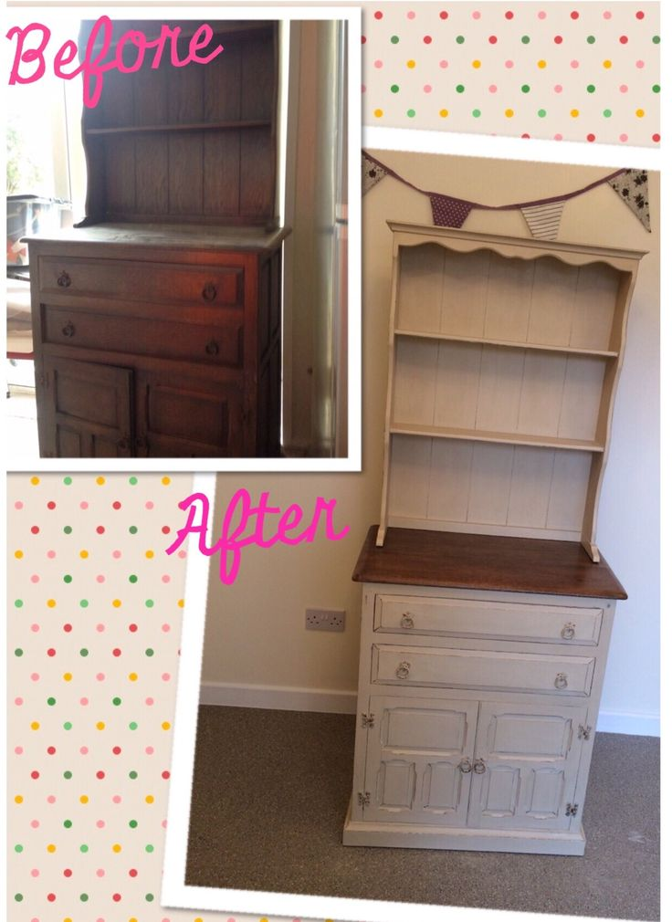 Upcycled Shabby chic Welsh dresser painted in Annie Sloan old ochre chalk paint & slightly distressed - before & after