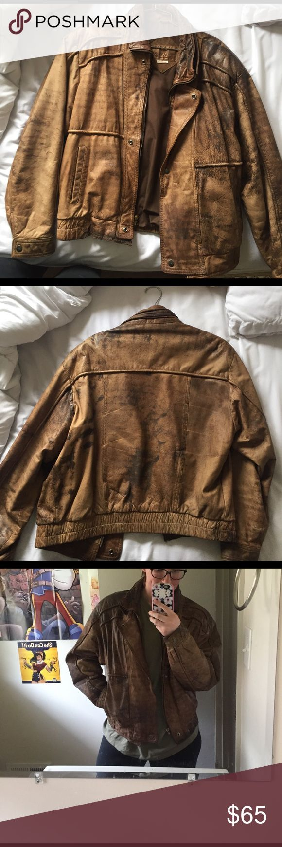 Genuine Distressed Leather Jacket Real leather jacket with inside pocket. Still in perfect condition. Can be worn as Men's 42 or, how I wear it, as a cute oversized female leather jacket Jackets & Coats