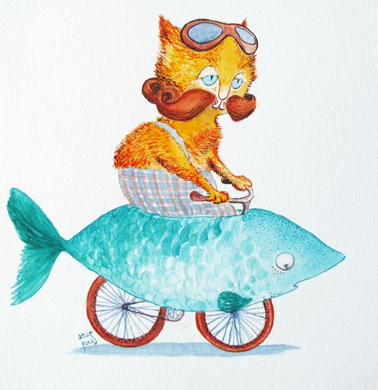 Boris the cat has waxed his moustache and is getting ready for the vintage cycling festival with his quirky invention, the hipster fish bike.  This is a limited edition fine art print, measuring 20 x 20 cm. The technique is giclee printing,   made with fade-resistant inks on cotton paper at archival quality, with a very close resemblance to the original watercolor painting. It will be signed and dated on the back by me.  Thank you for stopping by ❀♡❀ All artwork and content by Raluca Anghel…