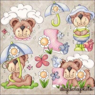 Rainy Day Bears 1 Clip Art Set