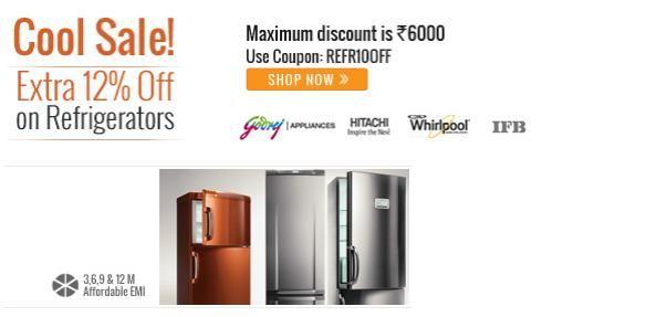Buy Refrigerator Online on EMI + Extra 12% Off at Homshop18.com