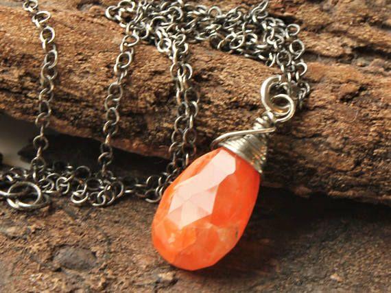 Copper Rutilated Quartz Necklace oxidized Sterling Silver