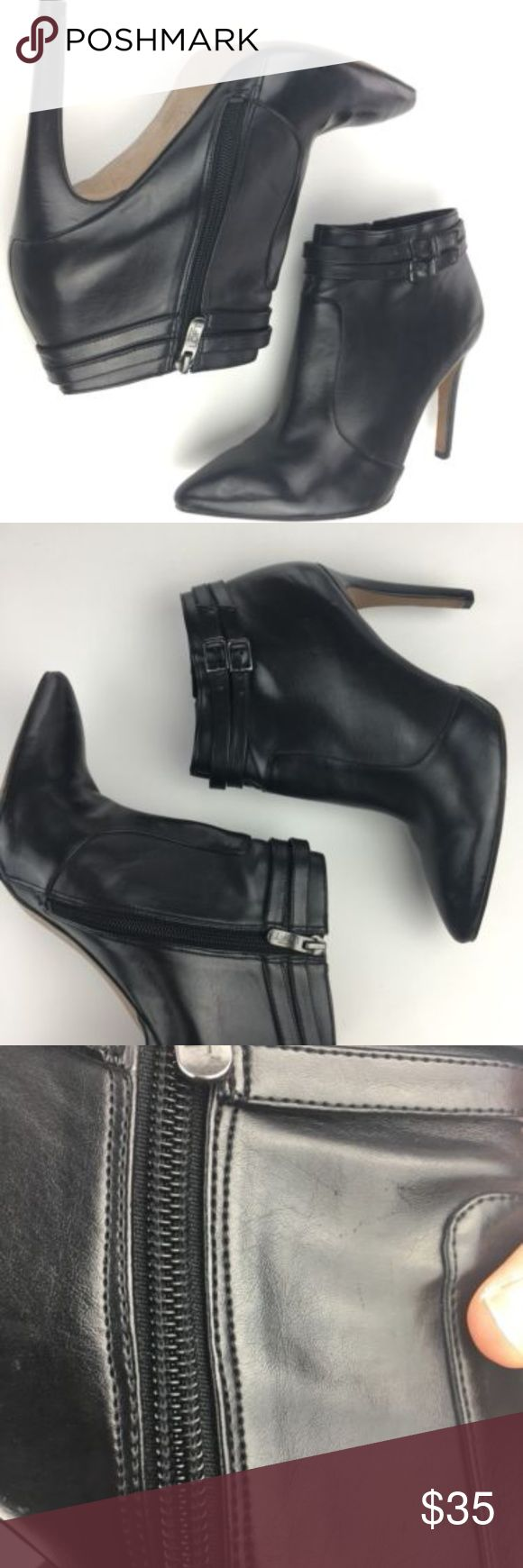 """LOFT black pointed toe high heel ankle booties womens Ann Taylor LOFT black pointed toe high heel ankle booties size 8 please see pictures for signs of wear - thank you! 4"""" heel height black zipper on the side buckle straps around the ankle for decoration manmade material LOFT Shoes Ankle Boots & Booties"""