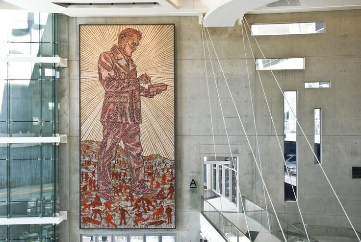 The Wayfarer, 13x6m, Conceived by Conrad Botes and produced by Spier Architectural Arts, Contemporary style mosaic with Venetian glass, ceramic and mortar elements, engineered, semiprecious and natural stone; direct method, Auto and General Park, Johannesburg, 2012