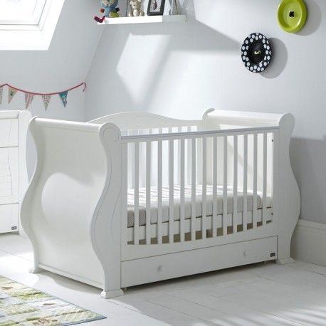 Tutti Bambini Louis Sleigh Cot Bed & Drawer - White