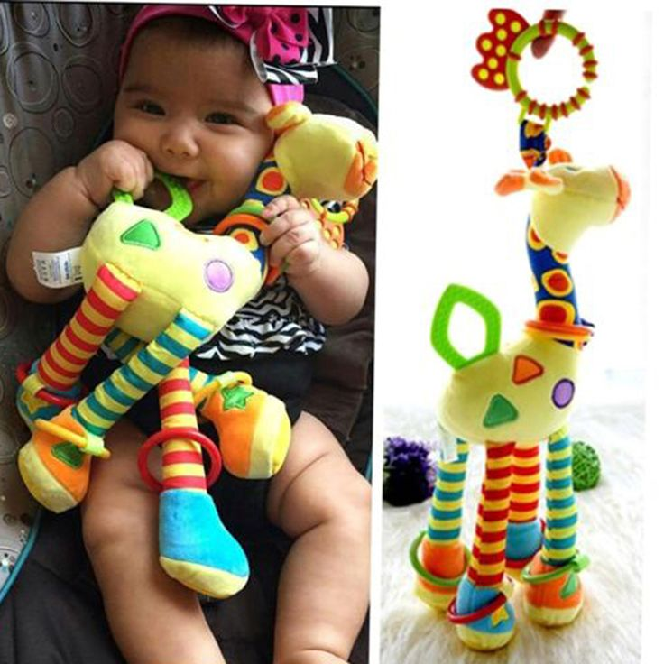 Plush Infant Baby Development Soft Giraffe Animal Handbells Rattles Handle Toys Hot Selling WIth Teether Baby Toy