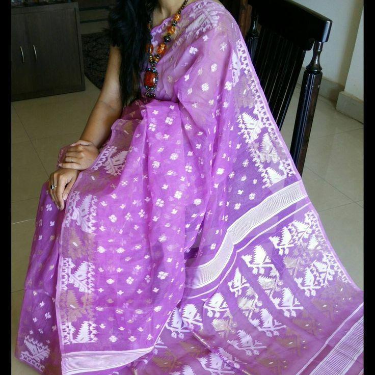 Bangladeshi Jamdani Light Purple Saree