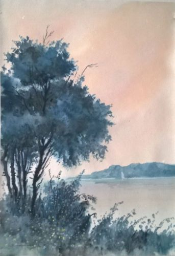 Landscape-of-Lake-watercolor-painting