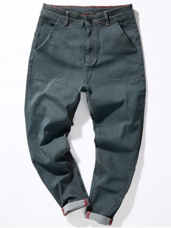 Zipper Fly Loose Fit Suture Pockets Harem Jeans - GRAY 34