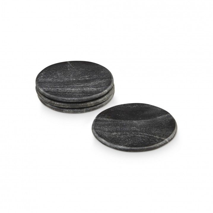 This 4 piece set of black marble coasters by H Skjalm P. offers the perfect mix of style and practicality to your collection of kitchenwares.   Colour: Black Size: 10 CM