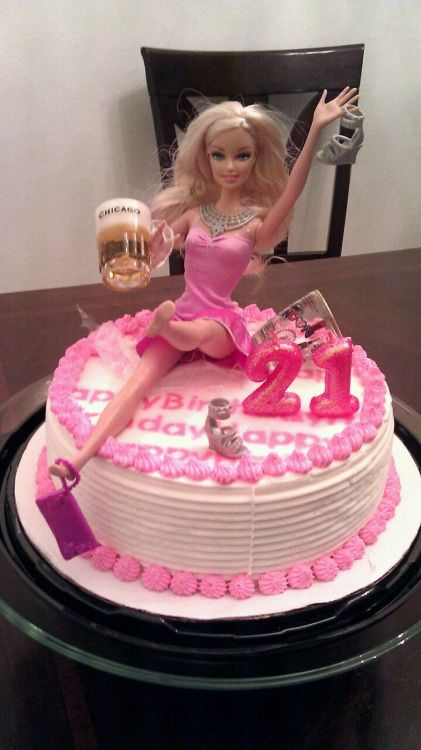 The Drunk Birthday cake for my sister'd 21st Birthday party! I couldn't find an Asian doll so my sister is stuck with a blond barbie.