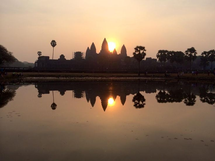 Watch the sunrise behind Ankor Wat. 2016