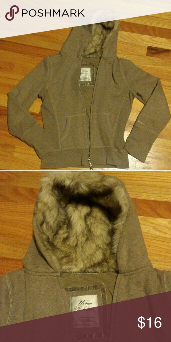 Zip- up hoodie with faux fur lined hood Beige zip-up hoodie with faux fur hood. Size large (juniors), but fits small/medium adult. Urban Behavior Tops Sweatshirts & Hoodies