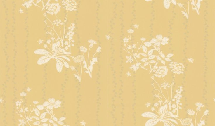 Wild Meadow Dandelion (BG0200102) - Barneby Gates Wallpapers - An all over wallpaper design featuring an elegant floral trail of wild flowers and bumble bees. Shown here in the dandelion colourway. Other colourways are available. Please request a sample for a true colour match. Large scale pattern repeat.