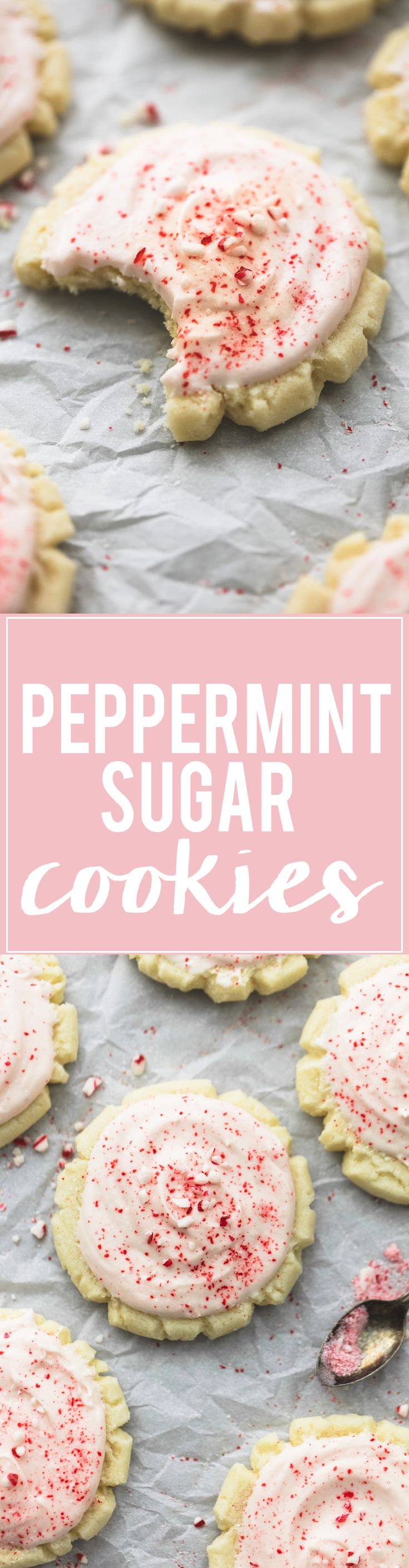 Super Soft Peppermint Sugar Cookies with fluffy and creamy peppermint frosting are easy to make without cookie cutters and no chilling time! | lecremedelacrumb.com