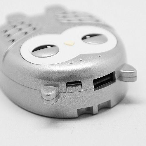 Портативное зарядное устройство Сова (серебро) - купить в интернет магазине в Москве