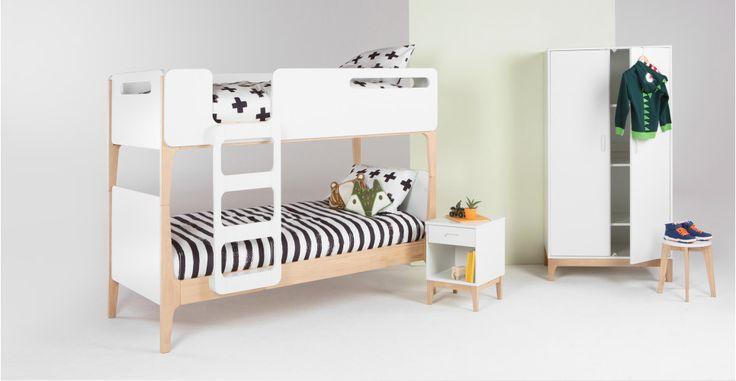 Linus Etagenbett für Kinder, Pinienholz und Weiß | made.com