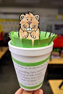 Groundhog Day craft and poem...It's a free printable groundhog and poem! Love it!