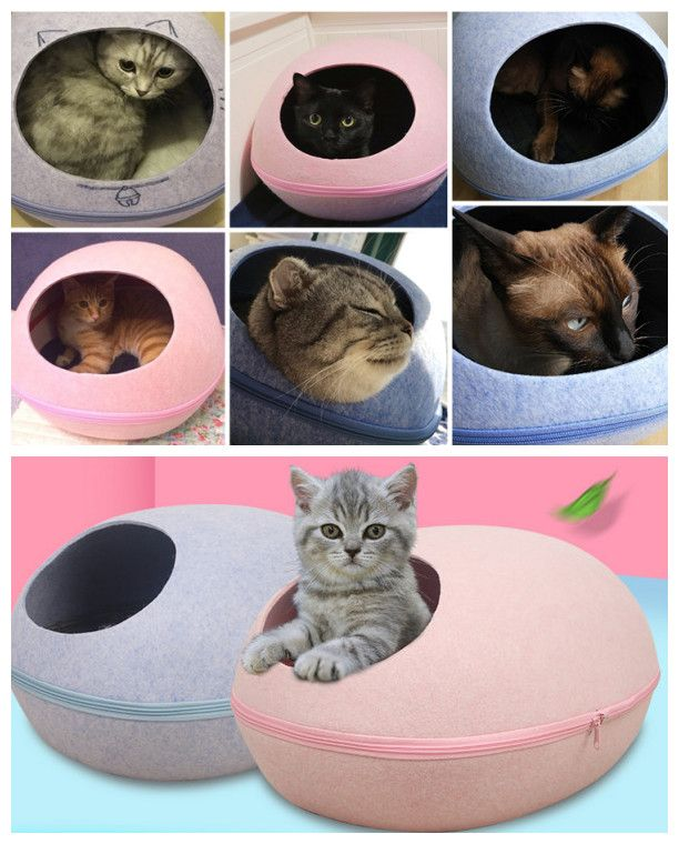 [ $32.00 - 39.00 ] Egg Style Pet cat warm dog puppy Bed hand-Felt Natural Cat Litter Kennel Detachable Easy To Carry & Clean with heating style