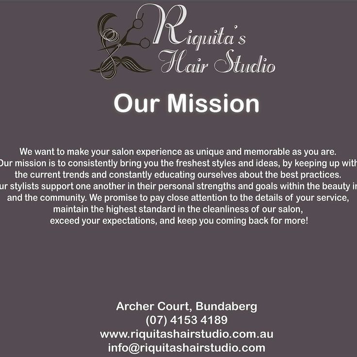 Have you read our full mission statement? This is something I'm truly passionate about and mean every word of it.  #hairstylist #haircolor #hair #scissorshands #ladiesfashion #mensfashion #prettycool #lovemyjob #hairlife #picoftheday #beauty #elegantlook #loveit  #pamper #fashion #hairsalon #lovehair #haircut #hairdo #hairdresser #hairstyle #hairstyles #stunner #hairfashion #riquitashairstudio #bundaberg #thisiswidebay