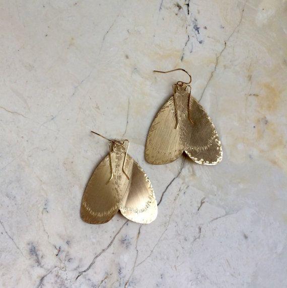 Moth Earrings. Gold Moth Earrings. Statement by MissCAlexandria
