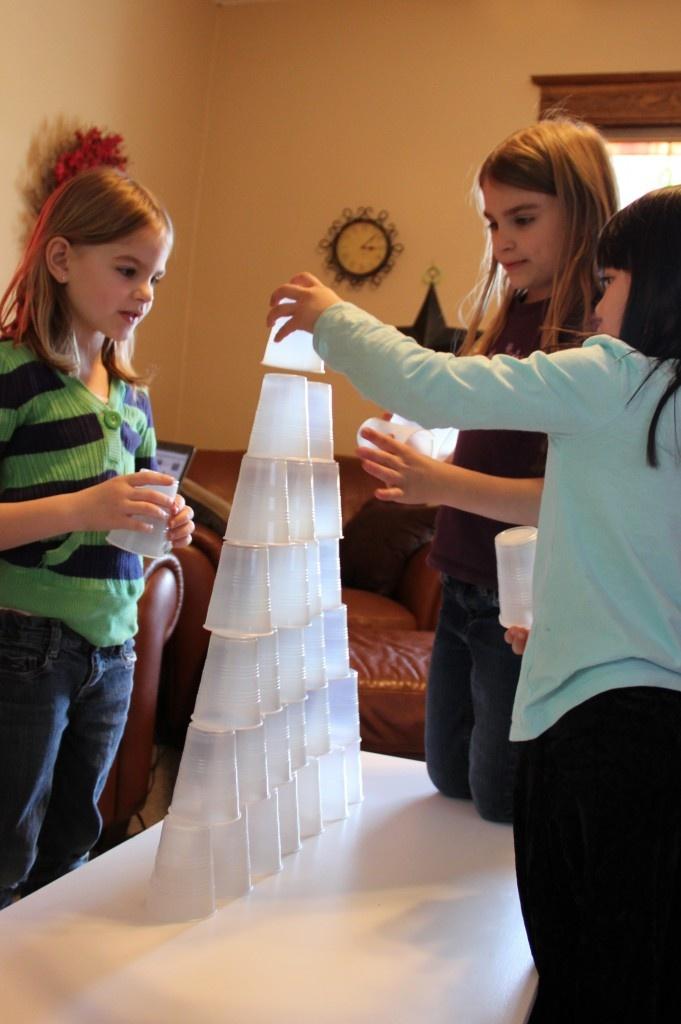 Fun activity....icebreaker: Cup stacking, balance, teamwork.