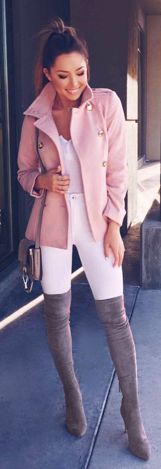 #spring #outfits pink leather jacket with thigh-high boots. Pic by @hapatime