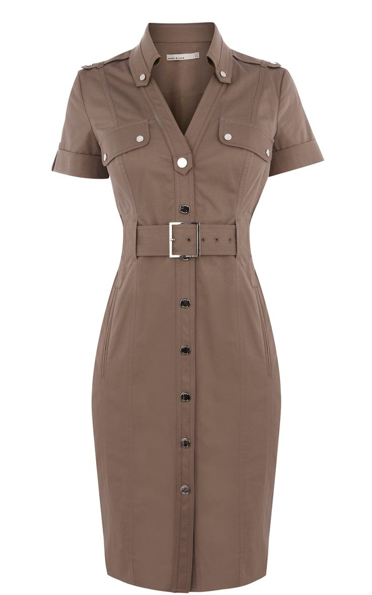 Karen Millen Cotton Shirt Dress Khaki