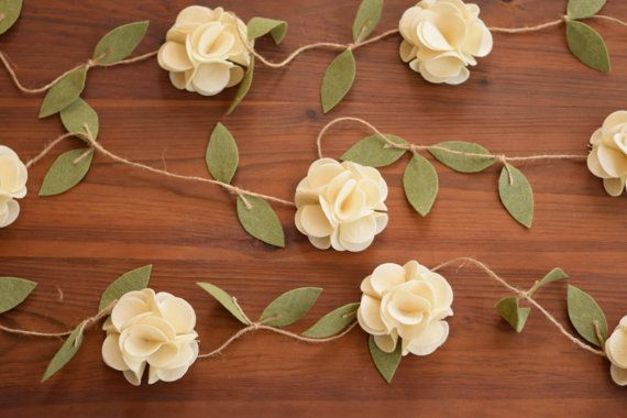 Rustic Flower Garland Wedding Ivory Felt Flower by SuchASquirrel