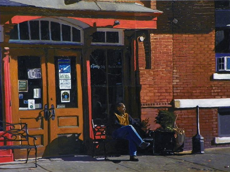Waiting at the Spotty Dog Urban landscape oil painting by Kenneth Young www.kenyoungfineart.com
