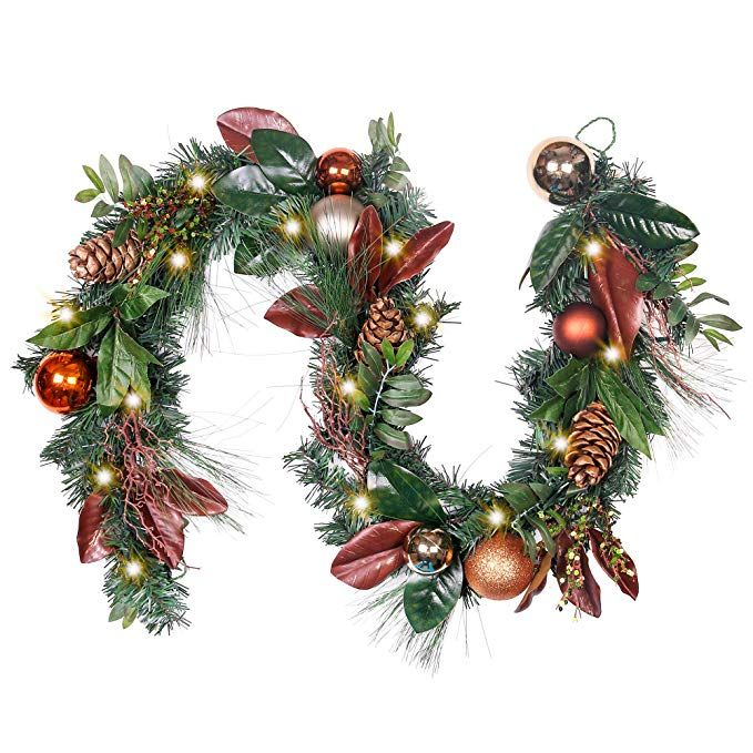 Valery Madelyn Pre Lit 6 Feet 72 Inch Red Brown Woodland Christmas Garland Woodland Christmas Ornaments Woodland Christmas Christmas Garland