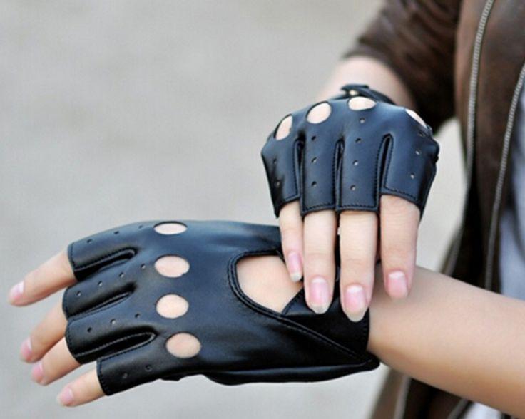 Женская мода Перчатки Половину Палец Вождения ИСКУССТВЕННАЯ Кожа Пальцев Перчатки Для Женщин Черный купить на AliExpress