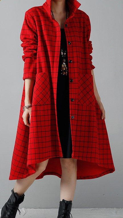 Red winter shirt dresses plus size coats